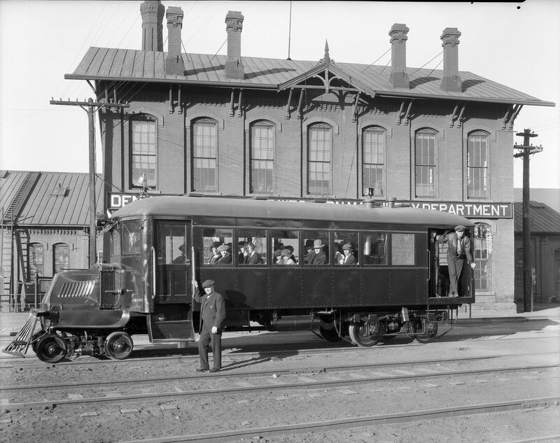 Mack railbus at D&RGW Burnham Shops, Denver, Colorado, 1926