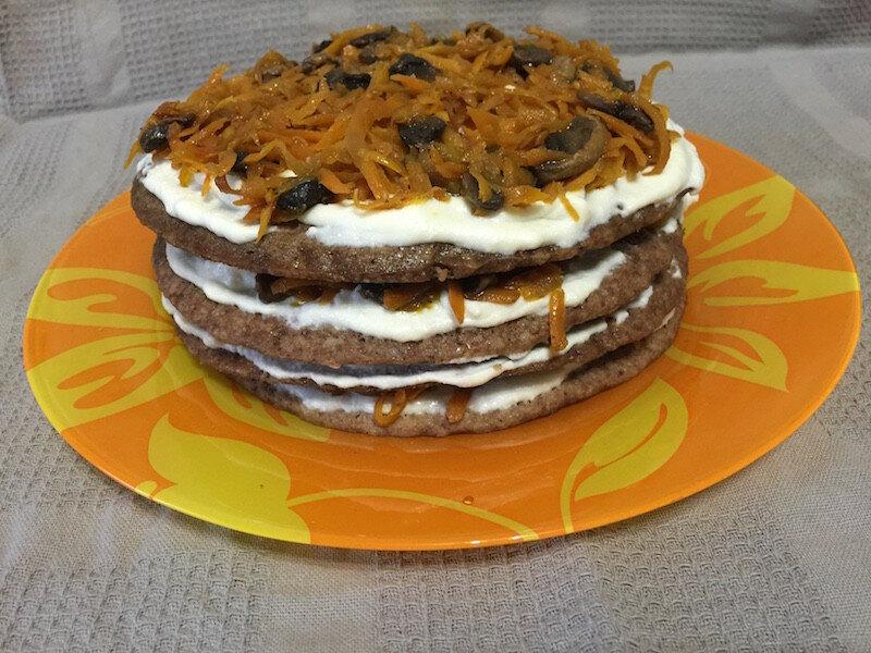Печёночный тортик в микроволновке