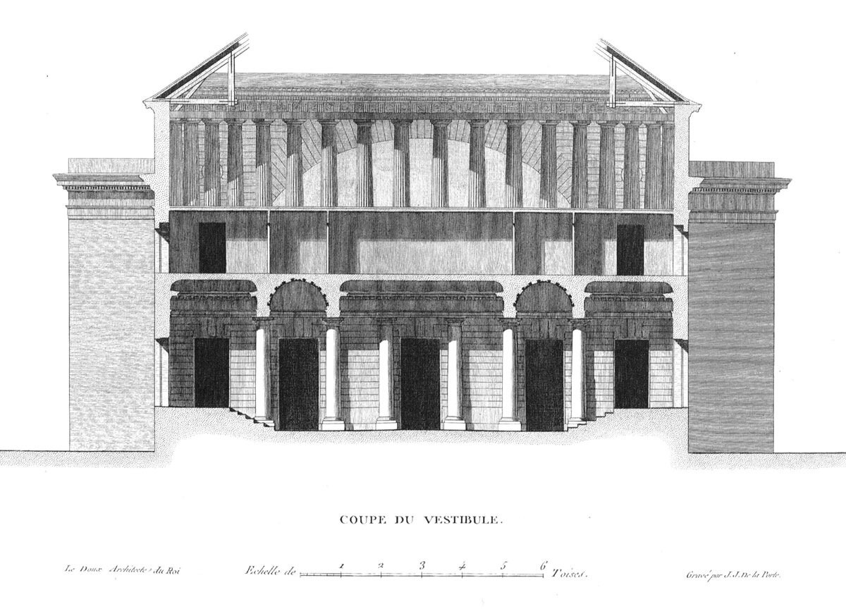 Клод Николя Леду, театр в Безансоне, поперечный разрез по вестибюлю