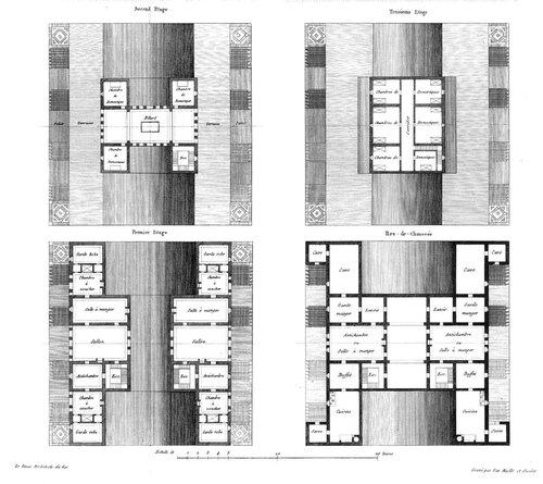 Дом смотрителя источника в идеальном городе Шо, архитектор Клод Леду, план