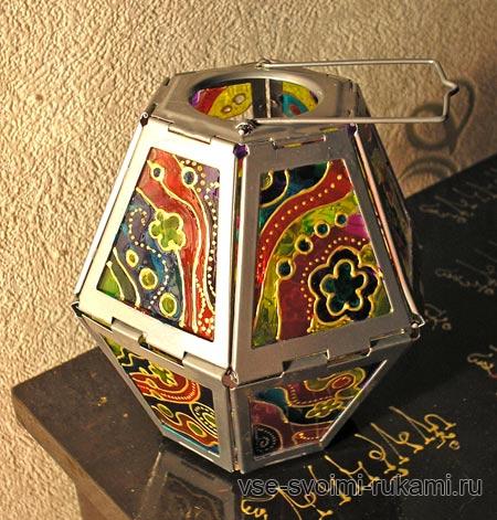 роспись по стеклу - декор фонарика витражными красками