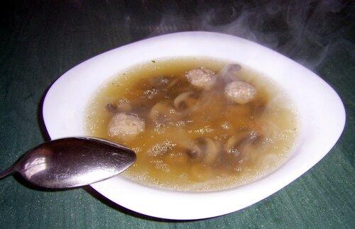 Суп с фрикадельками и грибами