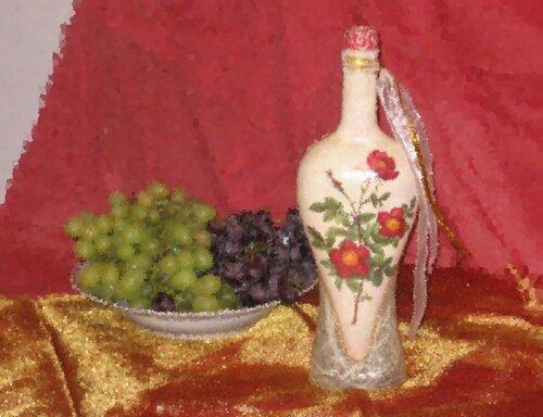 0 42c53 a3879867 L Декупаж бутылки в нежно розовых тонах
