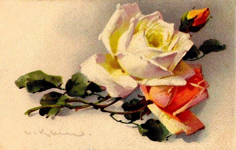 К. Кляйн. 82. Две розы и бутон.