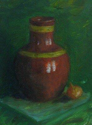 Донской А.Н. Натюрморт с кувшином, 1996, ДВП,м., 15x10