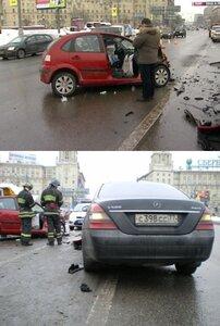 Ситроен и Мерседес после столкновения на Ленинском проспекте в Москве