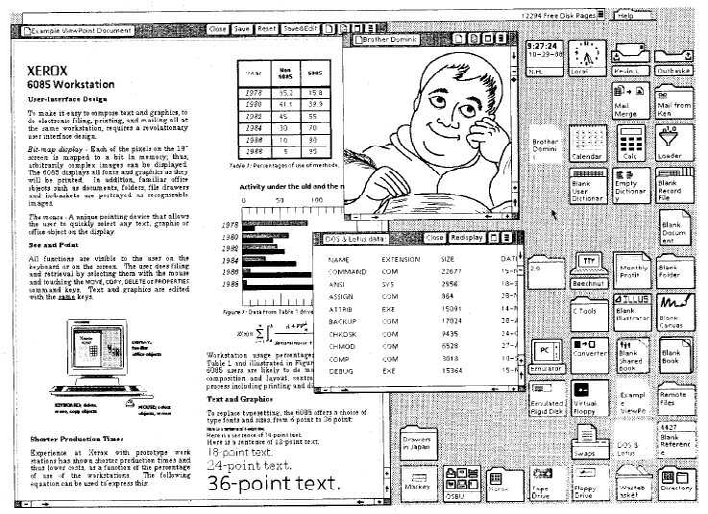 Xerox Star – рабочий стол ViewPoint. Xerox 6085, 1985