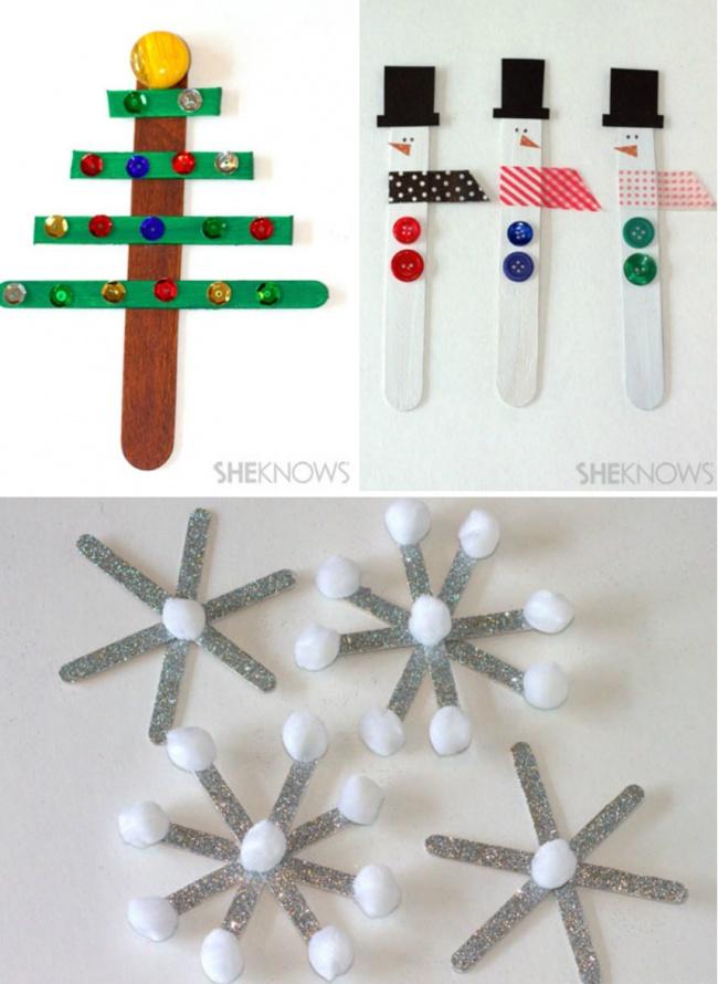 Изобычных палочек отмороженого получаются симпатичные елочки, снеговики иснежинки. Вам нужны крас