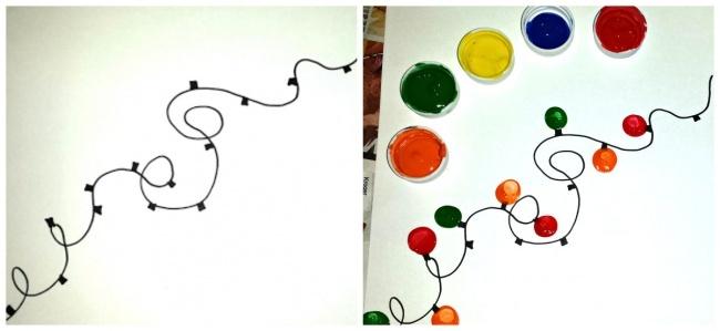 Нарисуйте шнур гирлянды иоснования лампочек, затем дайте ребенку разноцветные краски— пусть нарису