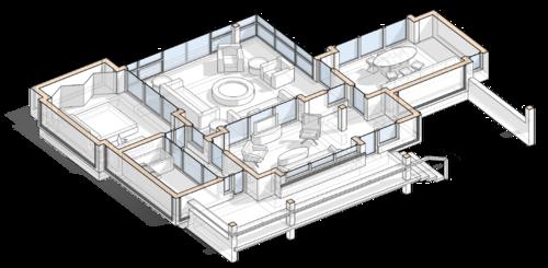 разрез, планировочное решение, план с расстановкой мебели, проект сблокированного модульного дачного жилого дома с остекленной террасой
