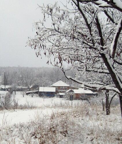 Зима, дома в снегу
