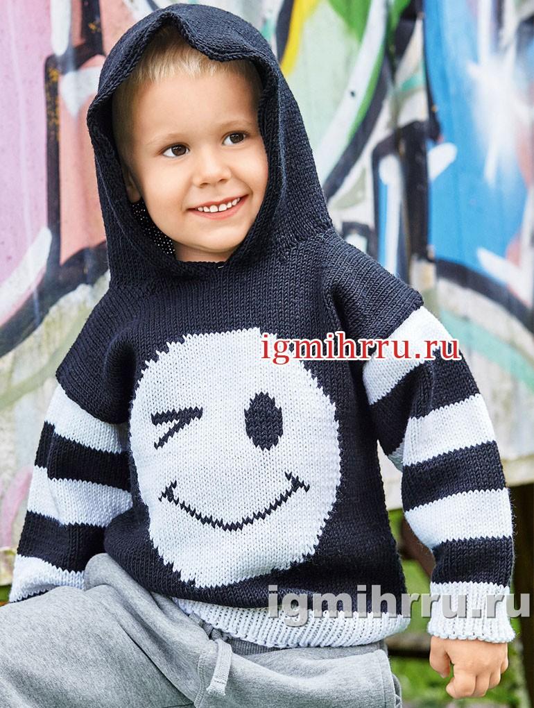 Для мальчика 1,5-7 лет. Пуловер с капюшоном и мотивом Смайлик. Вязание спицами