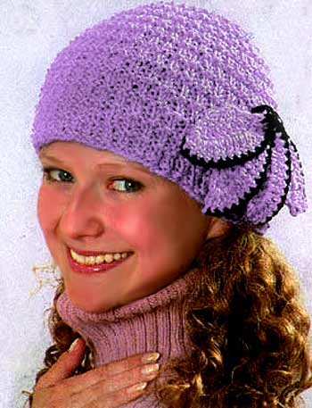 """вязание крючком схемы шапок  """" дамочка."""