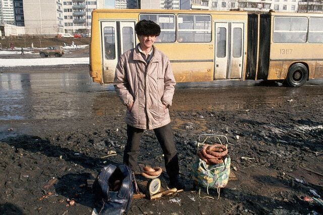 Russian Vendor Stands with Goods