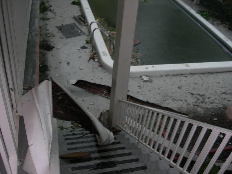 In Florida, after Hurricane Wilma. wind, hurricane, lightning, ball, became, Curiosity, stairs, unbearable, climbed, ocean, Reached, decent, looked, floor, garbage, very, scary, creepy, behind