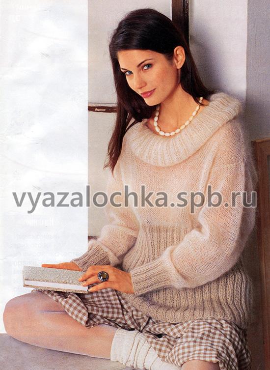Пуловер на высокой резинке и с