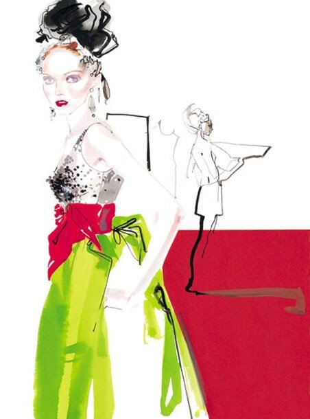 fashion illustrations by David Downton.Lily Cole