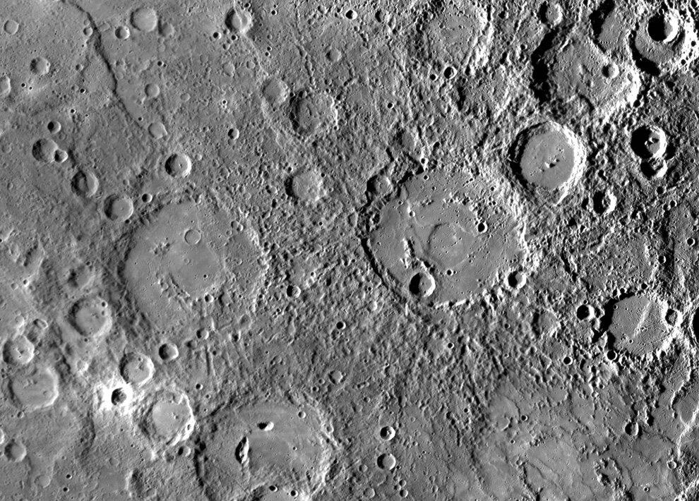 Рельеф на поверхности Меркурия
