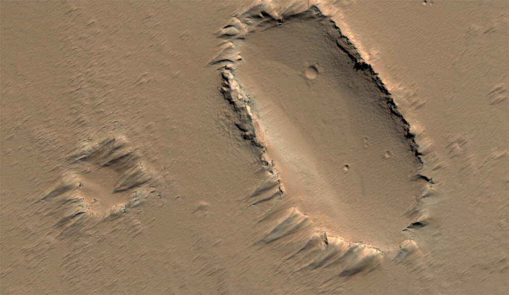 на поверхности щитовидного вулкана в регионе Тарсис на Марсе.