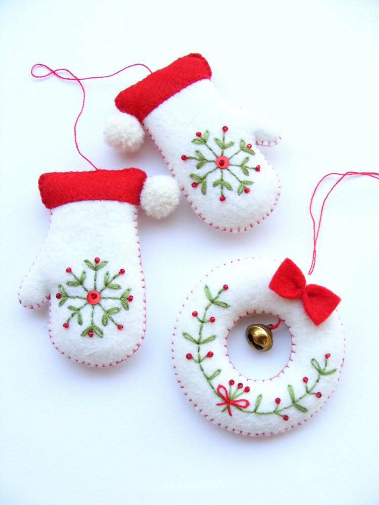 Новогодние игрушки из фетра своими руками с выкройками