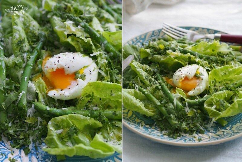 Простой салат со спаржей, яйцом и сыром