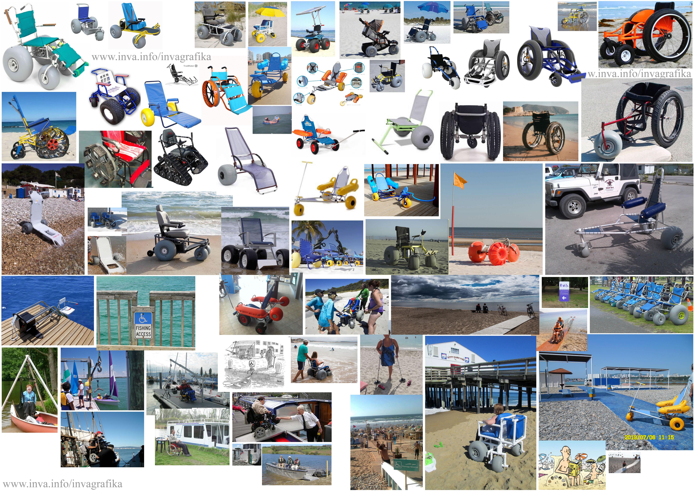 Электрические коляски и коляски с электро приводом для прогулок по песку. Плавающие коляски для купания в море. Подъёмники для пересаживания маломобильных в коляски для купания. Спуски к воде, пандусы, рампы, дорожки