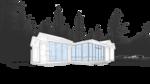Фото зарисовка, проект жилого модульного сблокированного дома на одну семью, с террасой, остекленной беседкой патио, камином в центре и вспомогательными помещениями