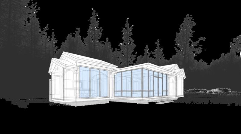Фотоврисовка, проект жилого модульного, сблокированного дома на одну семью, с террасой, остекленной беседкой патио, круглым камином в центре и встомогательными помещениями