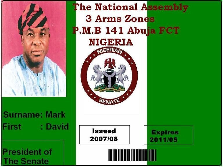 Нигерийское удостоверение. Из нигерийского письма