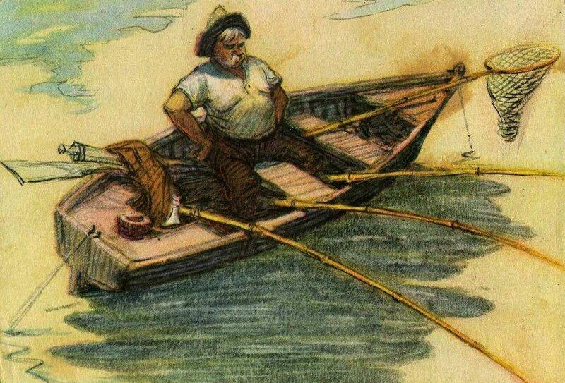 Советские открытки рыбалка