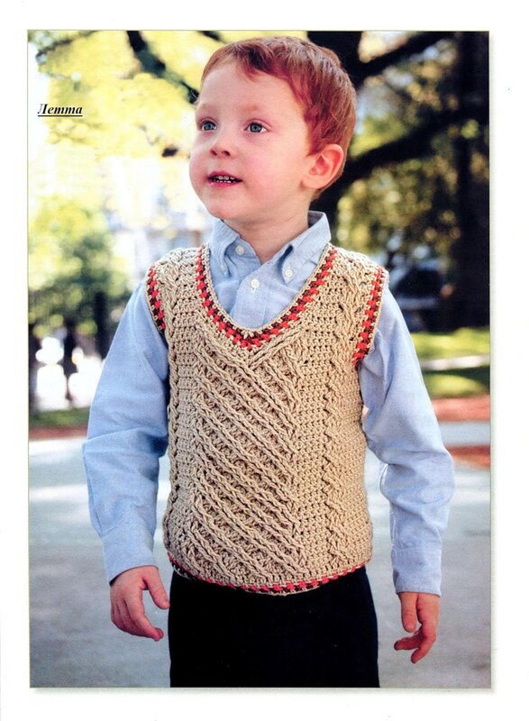 crochet cable baby gilet