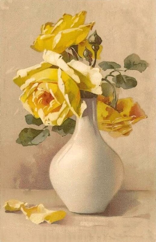 К. Кляйн. Жёлтые розы в Белой вазе.