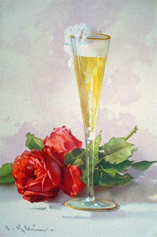 К. Кляйн. Бокал шампанского и роза.