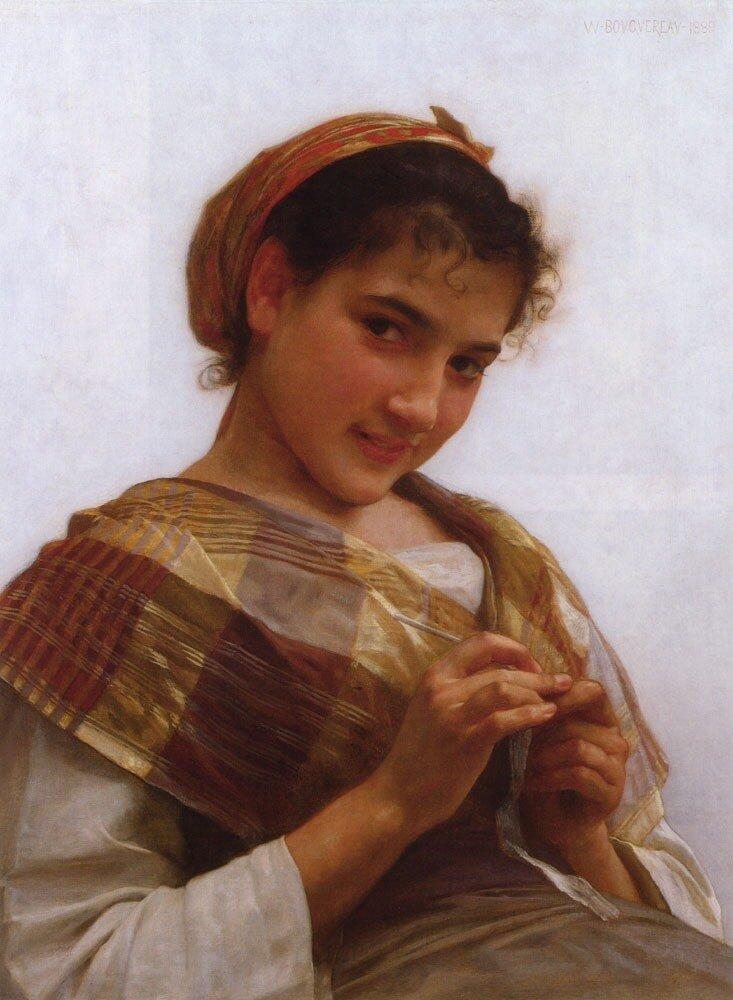 Бугеро,  Девушка за вязанием.1889 г.
