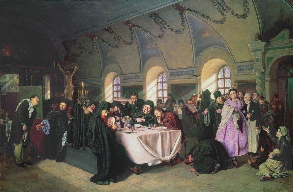 Василий Перов. Трапеза (Монастырская трапеза).1865-1876.http://veniamin1.livejournal.com/profile