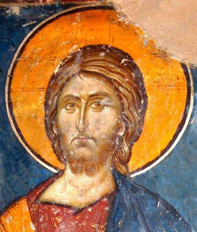 Лик Спасителя. Фреска церкви Св. Николая Орфаноса в Салониках, Греция. XIV век.