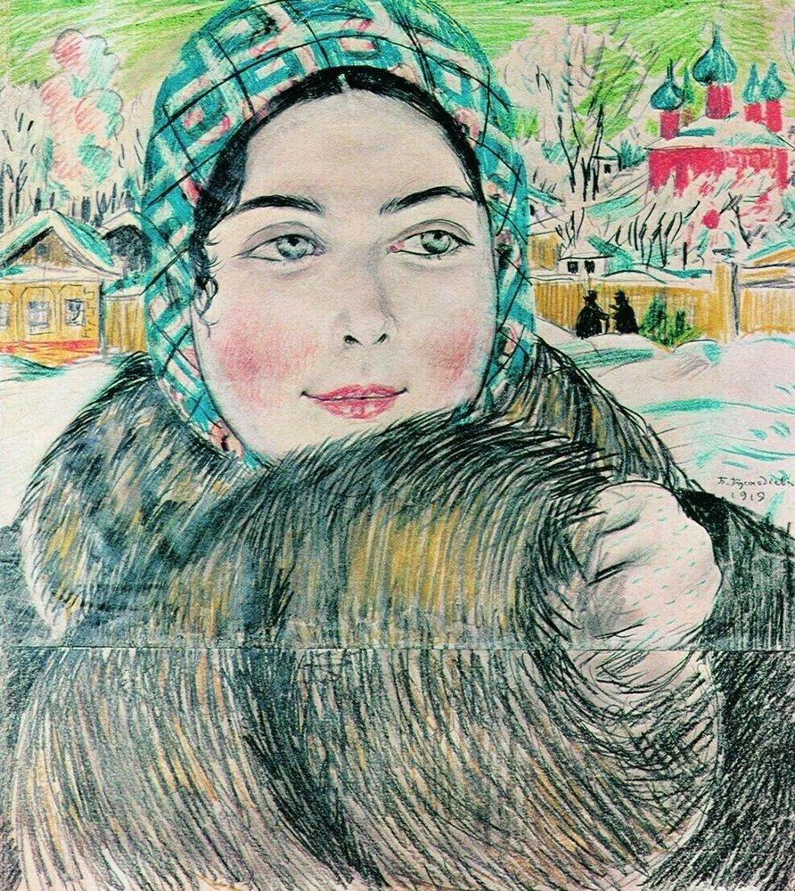 Молодая купчиха в клетчатом платочке. 1919.jpg