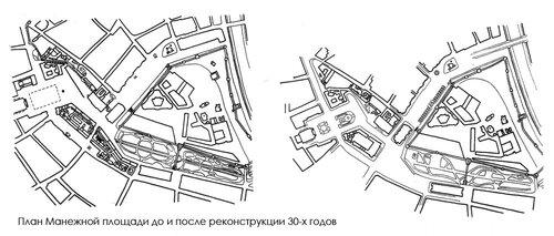 План Манежной площади до и после реконструкции 30-х годов, чертеж