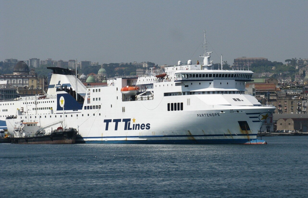 Naples. Seaport. The ferry Partenope TTTLines