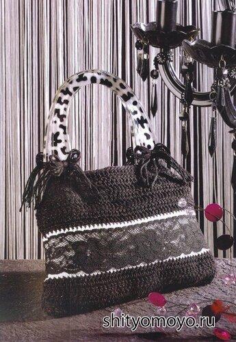 Вязание крючком схемы бесплатно: черно-белая сумка