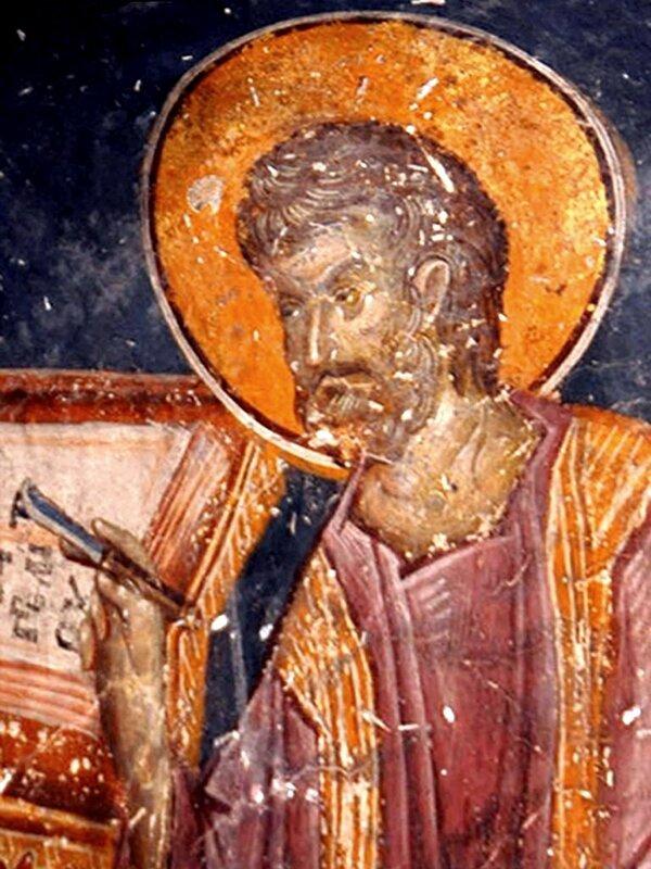 Святой Апостол и Евангелист Марк. Фреска в церкви Св. Николая Орфаноса в Салониках, Греция. XIV век.