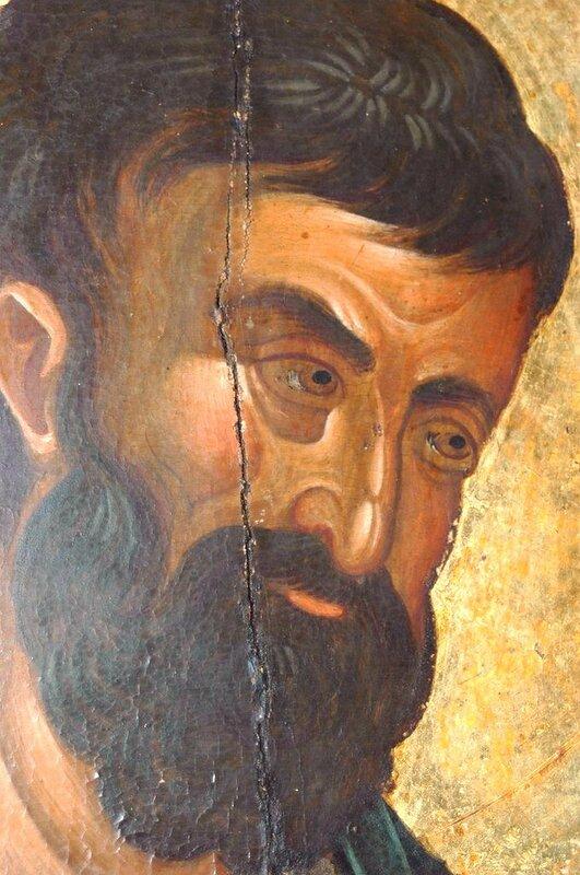 Святой Апостол и Евангелист Марк. Фрагмент иконы. Византия, 1360-е годы. Монастырь Хиландар на Святой Горе Афон.