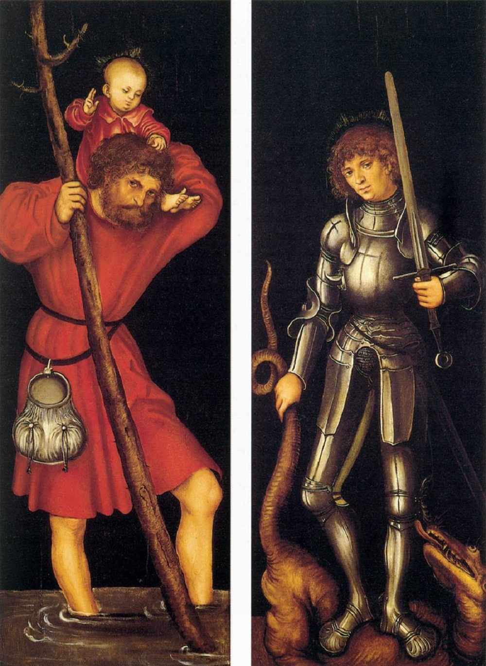1514 CRANACH, Lucas the Elder Sts Christopher and George (outer side) c. 1514 Oil on panel, 85 x 31 cm (each wing) Fundación Colección Thyssen-Bornemisza, Pedralbes