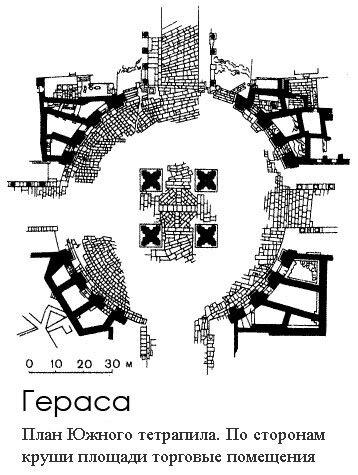 План Южного тетрапила. По сторонам круши площади торговые помещения, Гераса, Иордания