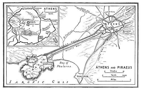 Длинные стены, соединяющие Афины и Пирей, генплан