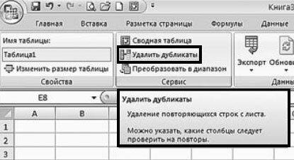 Как удалить одинаковые строки таблицы Excel?