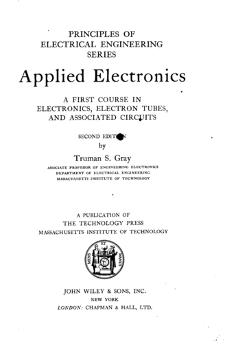Applied Electronics - Truman S. Gray - Book Cover