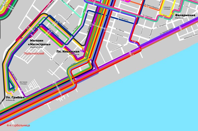 Схема автобусов и маршруток Саратова.  Версия 2.0.