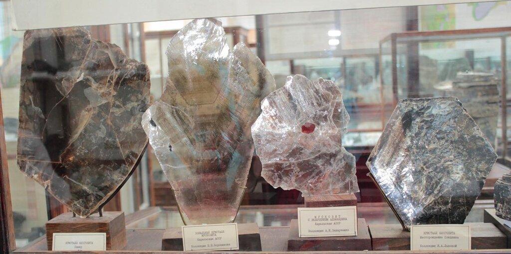 Кристалл флогопита; зональный кристалл мусковита; мусковит с включением альмандина; кристалл флогопита