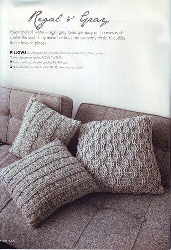 Вязаный плед и чехлы для подушек.  Схема вязания спицами.  Плед связан из 12 квадратов, каждый из которых состоит из...